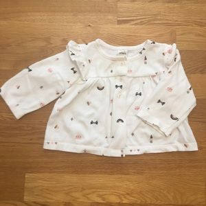 3/$20 Carter's White Patterned Cardigan 6 Months